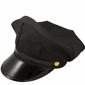 MENS BLACK CHAUFFEUR HAT FANCTY DRESS DRIVE LIMO PARTY COSTUME ACCESSORY