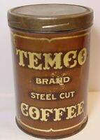 Old Vintage 1920s TEMCO COFFEE TIN GRAPHIC TALL 1 POUND CAN SUPERIOR WISCONSIN