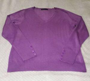 M&S Collection | Ladies Heather Purple | V Neck Jumper | Size 14