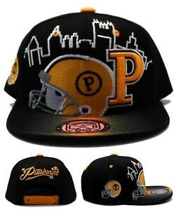 Pittsburgh New Leader Toddler Skyline Steelers Black Gld Era Snapback Hat Cap