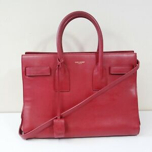saint laurent red pink sac de jour leather handbag
