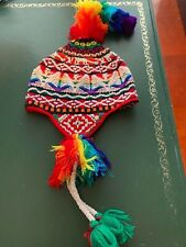 PERUVIAN CHULLO HAT WITH BEADS MULTICOLOURED RAVE FESTIVAL  HAND MADE  21