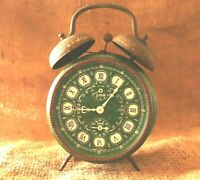 VINTAGE GREEN ALARM CLOCK WEHRLE TUBEL JEWELLED CLOCK MECHANICAL MADE IN GERMANY