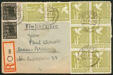 SBZ R-Brief 10fach mit Mi.-Nr.8x 959 Leipzig 14.7.1948 nach Essen