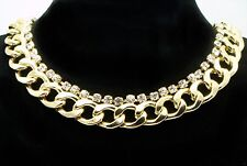 Gold Plt Chunky Retro Curb Chain Pimp Gangster Wag Necklace W/ Swarovski Crystal