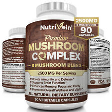 Nutrivein Mushroom Supplement 2500mg - 90 Capsules - 8 Blend Lions Mane Reishi