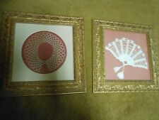 Beautiful Set of 2 Handmade CROCHETED Framed Pictures-Outstanding Frames    SALE