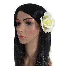 Gran Ivory Crema Rosa Cabello Flor Novia Nupcial Boda Ramillete Clip Clip de horquilla x