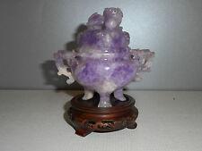 BRULE PARFUM ANCIEN EN AMETHYSTE.CHINE XX°.Quartz violet.Encensoir.
