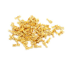 100 Pcs 6.3mm Gold Brass Car Speaker Female Spade Terminal Wire Connector NN