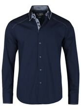"Victory Eagle Mens Gingham Trim Navy Blue Shirt 38"" Chest - Size Small"