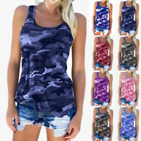 Womens Camo Blouse Cami Tee Tank Vest T Shirt Casual Loose Ladies Tops Size 6-20