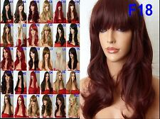 Red Brown Lady Fashion Wig Long Curly Natural Women Ladies Full Hair Wigs F18