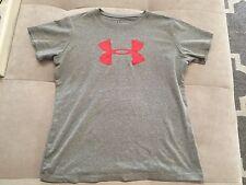 Boys Under Armour T-Shirt Size L Gray Heat Gear Athletic