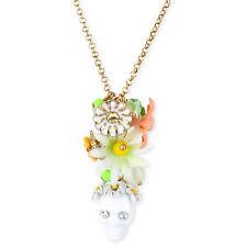Betsey Johnson SUMMER OF LOVE Skull Flower Pendant Gold-Tone Necklace NEW