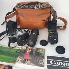 CANON AE-1 PROGRAM BLACK CAMERA W/ CANON SLR CAMERA Japan W Accessories