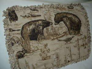 "PK Wildlife-Bears/Pheasant/Rabbit Toile Throw Pillow  14"" X 19""  Hand Made"