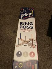 Pop- Ring Toss Game, Brown Wood