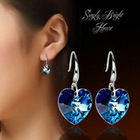 925 Sterling Silver Plated Radiant Synthetic Blue Heart Crystal Drop Earrings