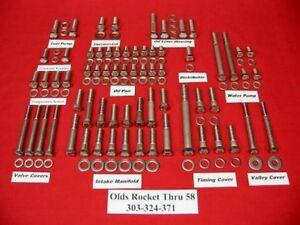 OLDSMOBILE OLDS ENGINE BOLTS KIT 1958 & OLDER ROCKET 303 324 371 STAINLESS STEEL