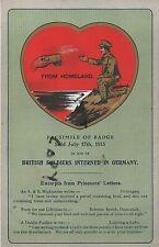 Scarce WW1 Patriotic Fund raising Card in aid of POW Prisoners of war in Germany