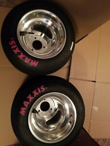 Go Kart Racing Polished Wheels And Pink Maxxis Tires American bolt pattern Nice