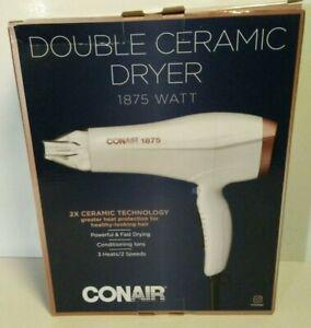 CONAIR 1875 WATT DOUBLE CERAMIC HAIR DRYER WHITE/ROSE GOLD BRAND NEW IN BOX