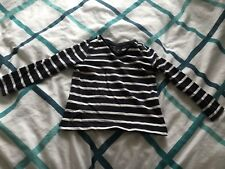 Navy And White Long Sleeved Striped Top. Age 3 Yrs.
