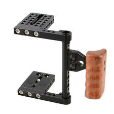 DSLR Video Camera Cage Stabilizer Rig Wooden Handle for Canon 60D Nikon Sony