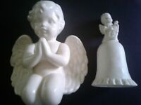 Lot 2 pcs.Vintage Praying Cherub Angel Figurine & Cello Angel Bell White Ceramic