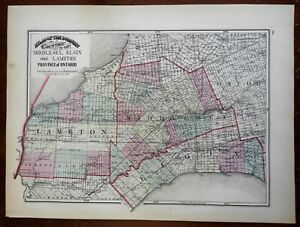 Middlesex Elgin & Lambton Counties Ontario Canada 1875 Walling & Tackabury map