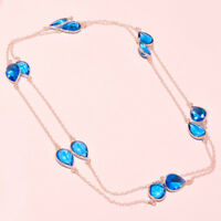 """London Topaz Faceted Handmade Gemstone Fashion Jewelry Necklace 36"""" RD-.6220"""