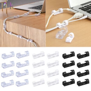 20pcs Cable Cord Clips Self-Adhesive Wire Clamp Table Wall Tidy Holder Organizer