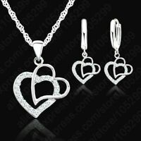 925 Sterling Silver CZ Crystal Double Heart Pendant Necklace And Earring Set UK