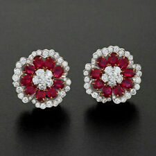 Flower Studs Red Oval Buy Online Solid Sterling Silver Jewelry For Gift Women Cz