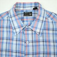 Vtg JC Penney Casual Shirt Mens size MEDIUM Paper Thin Rockabilly Greaser Plaid