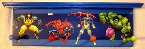 x-men super heroes spiderman magneto hulk wolverine wall shelf coat rack blue