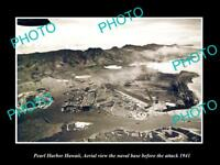 OLD LARGE HISTORIC PHOTO PEARL HARBOR HAWAII AERIAL VIEW BEFORE BOMBING 1941