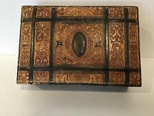 Antique Art Nouveau Embossed Tooled Leather Box ITALY Cherubs Dogs Fairies Birds
