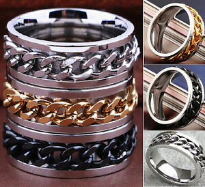 Wholesale Lots Men's Top Silver Gold Black Stainless Steel Rings Chain Spinners