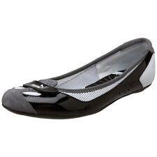 Puma Womens Zandy Leather Ballet Flats 7 Black White Slip On Shoes Gray Slippers