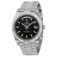 Rolex Day-Date 40 Black Dial 18K White Gold President Automatic Mens Watch