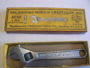"""VINTAGE CRESTOLOY CRESCENT AC14 4"""" WRENCH WITH BOX"""