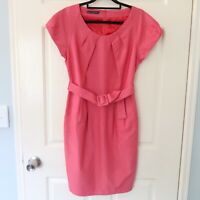 Honey & Beau dress size 10 cap sleeve aline belted waist corporate cocktail