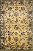 5x8 Area Rug Persian Oriental Traditional Design Antique Look Floral Gold /Beige