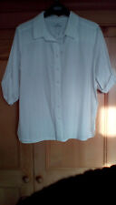 M&S Classic Ladies White 1/2 Sleeve Collared Buttoned Cotton Shirt, size 14