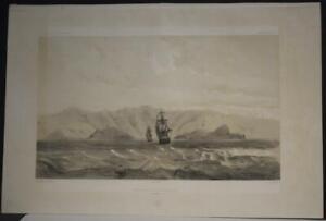 NUKU HIVA ANNA MARIA BAY MARQUESAS ISLANDS 1841 DUMONT D'URVILLE ANTIQUE VIEW