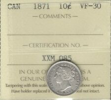 1871 Ten Cents ICCS VF-30 SCARCE Date HIGH Grade VF-EF Victoria NICE Canada Dime