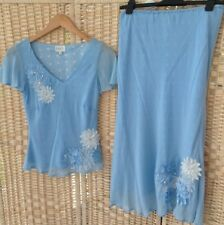 EAST Beautiful SILK Light Blue Occasion Outfit Set UK 8 12 Skirt Top Appliqué