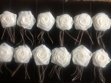 12 Ivory Lace Flowers Burlap Spray Rose Rustic Wedding Pearl Table Decor